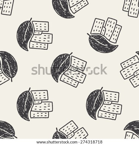 Environmental protection concept; greenhouses; green house; doodle seamless pattern background - stock vector