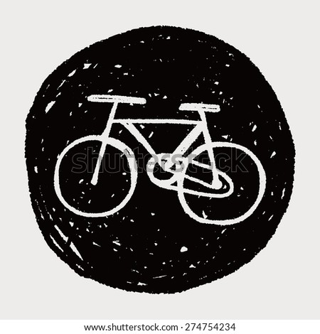 Environmental protection concept; More cycling to reduce emissions; doodle - stock vector