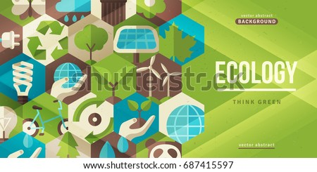 Environmental protection, ecology concept horizontal banner in flat style. Vector illustration. Ecological icons in hexagons. Concept for web banners and promotional materials.