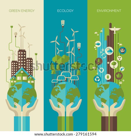 Environmental protection, ecology concept vertical banners set in flat style. Vector illustration. Hands holding Earth with ecology symbols. Eco-city, green energy, wild nature concept.Solar panels. - stock vector