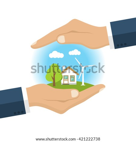 Environmental protection. Hands holding earth. Ecology concept. Protection ecology. Vector illustration flat design. Banner environmental protection. - stock vector