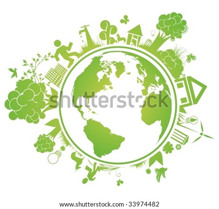 environmental vector concept with earth globe - stock vector