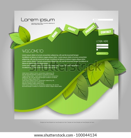 environmental web page design - stock vector