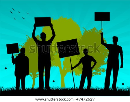 environmentalists protest-outdoor illustration of vectors - stock vector