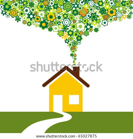 Environmentally friendly house and flowers instead of smoke rising from the chimney