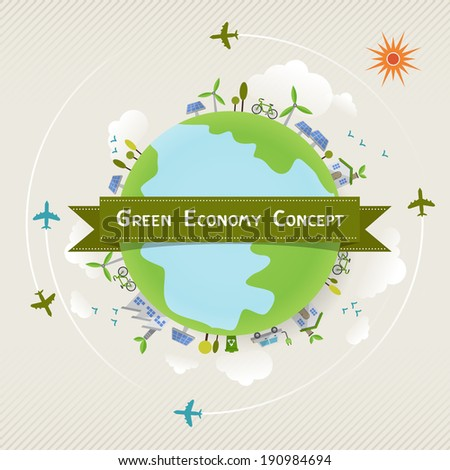 environmentally friendly planet. Vector ecology concept  infographic modern design. icon and sign. - stock vector
