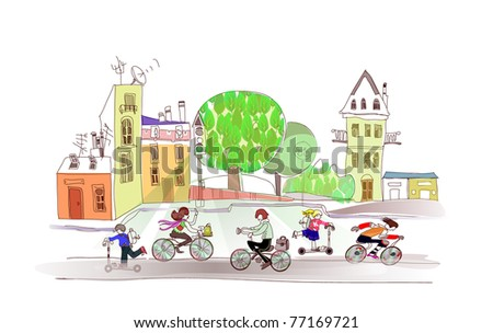 environmentally  friendly traffic - stock vector