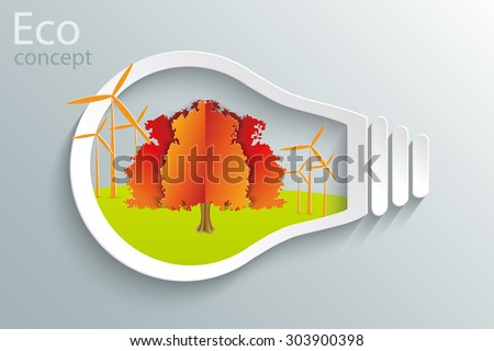 Environmentally friendly world. A tree and a windmill in the bulb. Vector illustration of ecology the concept of infographics modern design. The icon, sign. Ecological concepts. Idea. - stock vector