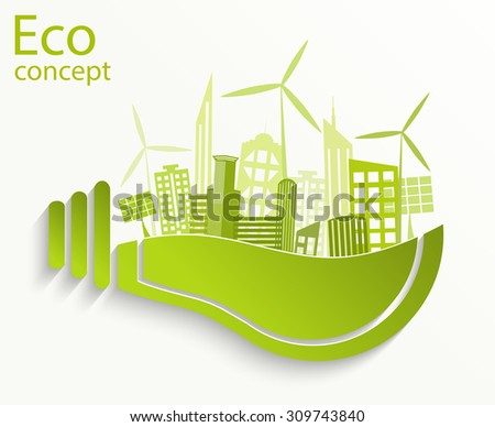Environmentally friendly world. City, solar panels, a windmill in a light bulb. Vector illustration of ecology the concept of infographics modern design. The icon, sign. Ecological concepts. - stock vector