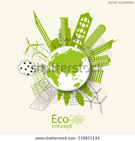 Environmentally friendly world. The city, solar panels, a windmill, a tree on the globe. Vector illustration of ecology the concept of infographics modern design. The icon, sign. Ecological concepts