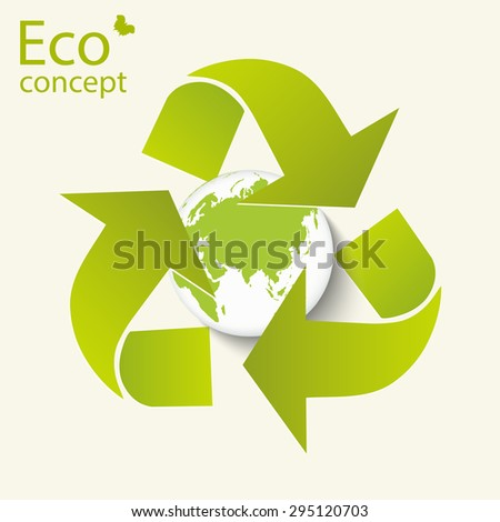 Environmentally friendly world. Vector illustration of ecology concept infographic modern design. Triangular recycling symbol around the globe on a white background.