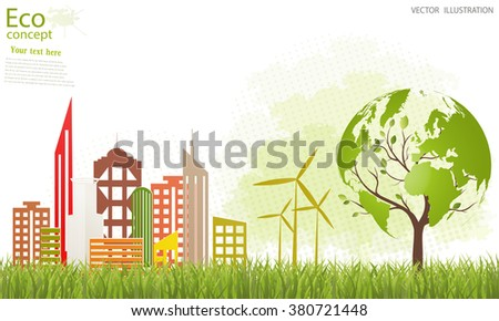 Environmentally friendly world. Vector illustration of ecology the concept of info graphics modern design. Ecological concepts. - stock vector
