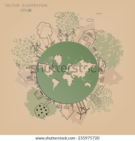 Environmentally friendly world. Vector illustration of ecology the concept of infographics modern design. the icon and sign. ecological concepts