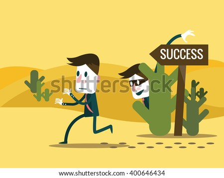 Envy Businessman change the road sign to wrong way. Business competition concept. flat character design. vector illustration - stock vector