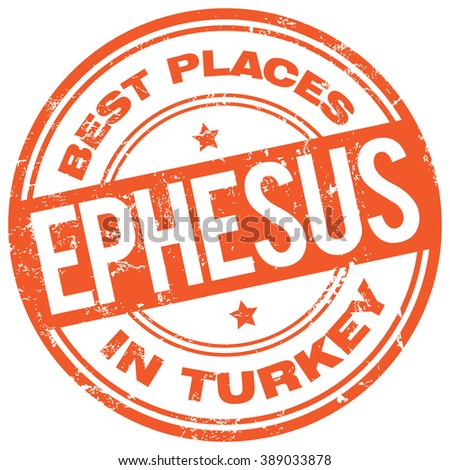 ephesus turkey stamp - stock vector