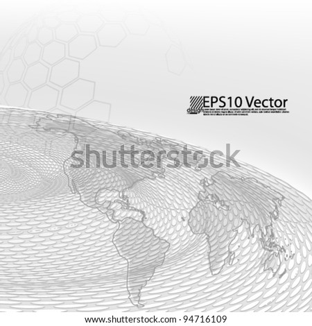 eps10 abstract 3D business background design with world map - stock vector