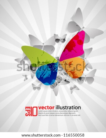 eps10 abstract vector design - colored butterfly with monochrome background - stock vector