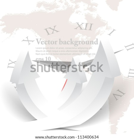 eps10 abstract vector design, 3D arrow icon on world map with clock hands background - stock vector
