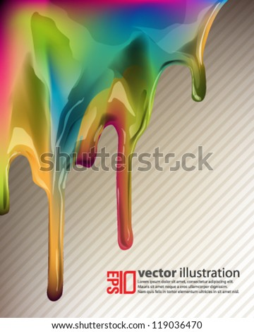 eps10 abstract vector design - dripping multicolor ink concept - stock vector