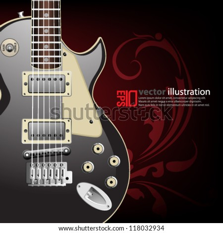 eps10 abstract vector design - electric guitar concept with swirl illustration - stock vector