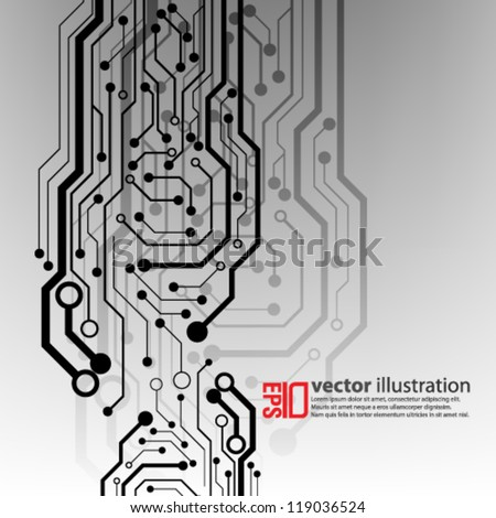 eps10 abstract vector design - futuristic circuit board concept on isolated background - stock vector
