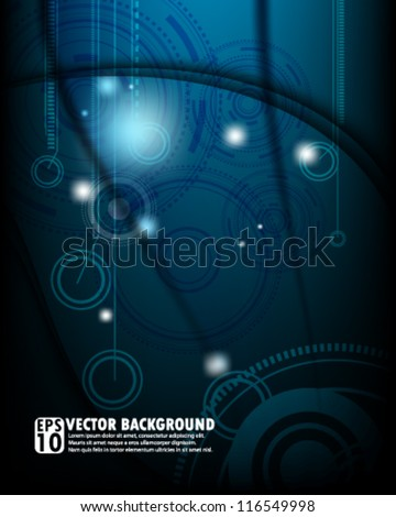 eps10 abstract vector design - futuristic gear on blue background - stock vector