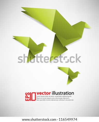 eps10 abstract vector design - origami bird on isolated background - stock vector