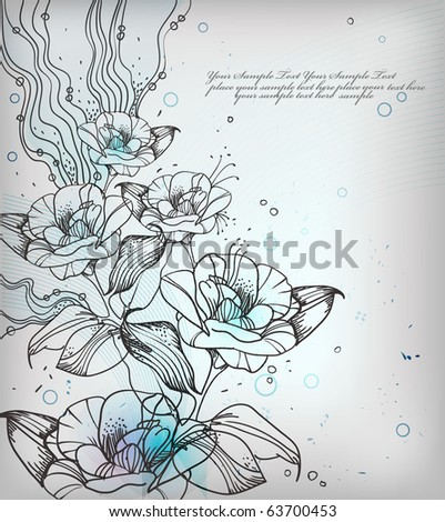 eps10 background with hand drawn fantasy flowers - stock vector