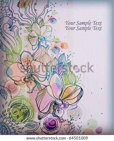 eps10 background with hand drawn orchids and plants - stock vector