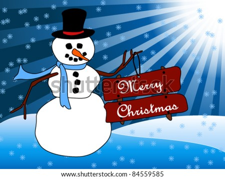EPS 10: Beautiful Christmas card with a friendly cartoon snowman standing in the snow holding sign with Merry Christmas wish