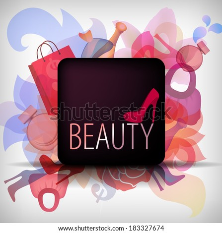 eps10 beauty background with colored shoes, flowers and bags. Fashion app icon. - stock vector