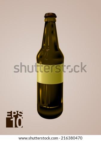 EPS 10 Blank Beer glass bottle vector realistic illustration for label design - stock vector