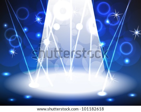 EPS 10: Blue lit stage for music, rock concert, dance or other event with a bright lights, lasers, bokeh and other neon effects, can be used for product advertising. - stock vector