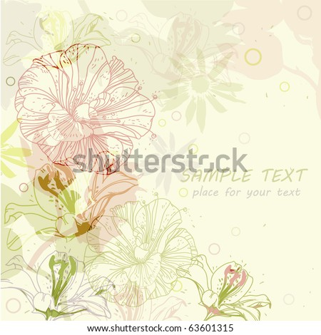 eps10 bright background with hand drawn flowers - stock vector