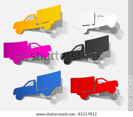eps10, car sticker truck realistic auto transport travel shadow object paper sign set collection - stock vector