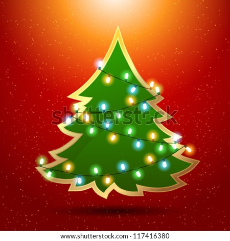 Eps 10 Christmas background with luminous garland and tree. - stock vector