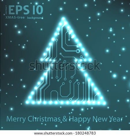 EPS10 christmas tree in circuit board style background