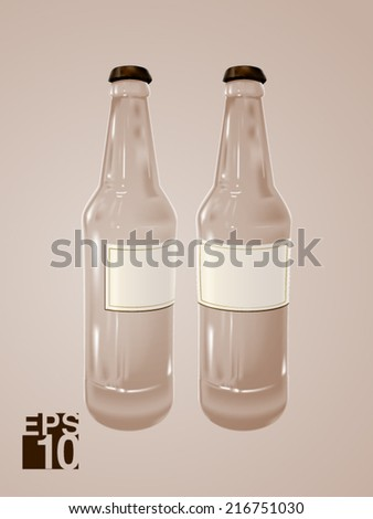 EPS 10 Clear Beer glass bottles vector realistic illustration for label designs - stock vector
