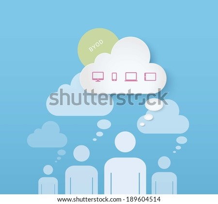 EPS10 cloud computing concept design with icon set for infographics, presentation, layout - CMYK version