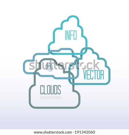 Eps10 cloud vector vertical scroll layout infographics composition for business or advertisement text box element and content holder set. Adjustable and scalable, tall & blue edition.  - stock vector