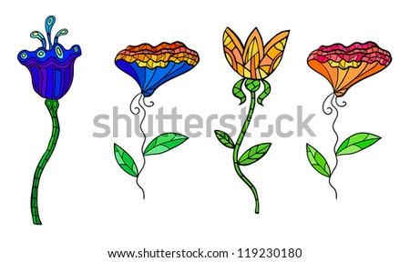 Eps 10 colorful decorative contrast flowers set. Fancy stylization. - stock vector