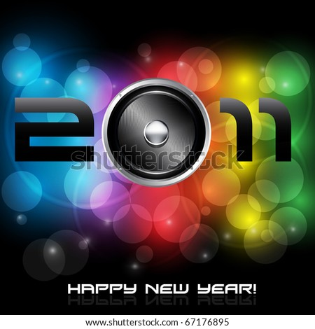 EPS10 Colorful New Year Celebration Background with Glitter, Rainbow Colours, Speaker and 2011 Message
