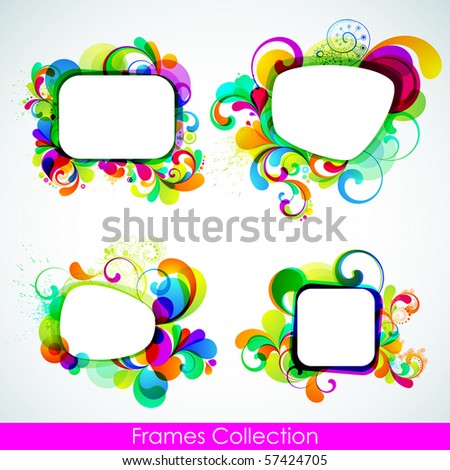 EPS10. Editable collection of cheerful frames - stock vector