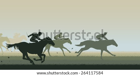 EPS8 editable vector cutout illustration of a horse race with all horses and riders as separate objects - stock vector