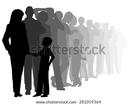 EPS8 editable vector cutout illustration of a long queue of people waiting patiently with all figures as separate objects - stock vector