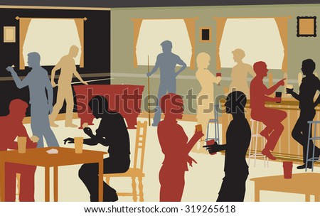 EPS8 editable vector cutout illustration of people drinking in a busy bar and enjoying typical pub games - stock vector