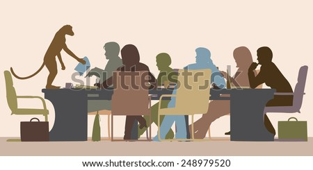 EPS8 editable vector illustration of a business meeting chaired by a monkey with all figures as separate objects - stock vector