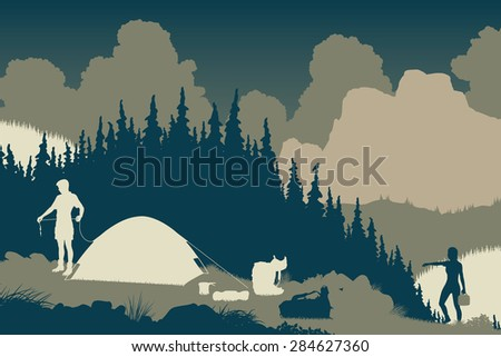 EPS8 editable vector illustration of a couple setting up camp in a wilderness area - stock vector