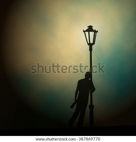 EPS10 editable vector illustration of a drunken man leaning against a lamp-post at night made using a gradient mesh - stock vector