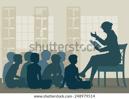 EPS8 editable vector illustration of a female teacher reading a story to her pupils sitting on the floor - stock vector